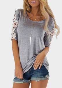 Solid Lace Floral O-Neck Blouse without Necklace