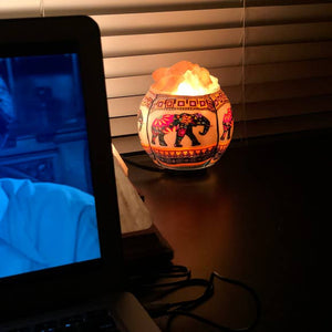 Ethnic Elephant Salt Lamp Diffuser With Ul Listed Dimmer