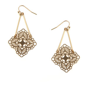 Earring 1269c 50 It's Sense brass contemporary clover dangle earrings matte gold