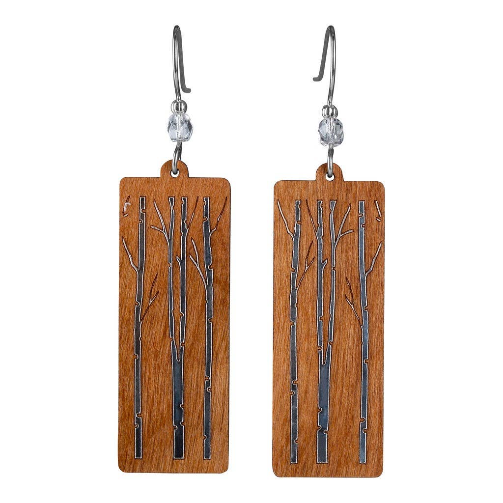 Branches Rectangle Twig Earring With Crystal Bead Accent  Maple