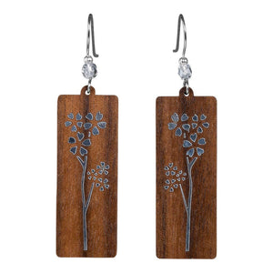 Cherry Blossom Rectangle Twig Earring With Crystal Bead  Walnut