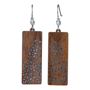 Flowers Rectangle Twig Earring With Crystal Bead Accent  Walnut