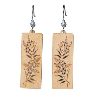 Foliage Rectangle Twig Earring With Crystal Bead Accent  Maple