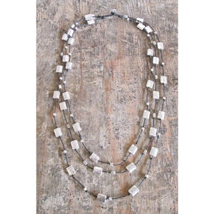 Triple Strand Alloy Necklace  Round