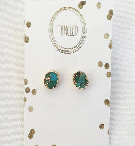 Turquoise Gold Electroplated Studs