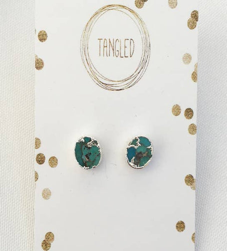 Turquoise Silver Electroplated Studs