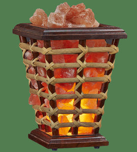 Himalayan Salt Lamp Wooden Cane Basket