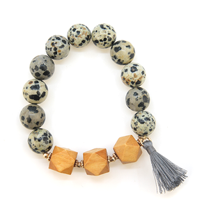 Influence bead stretch wood bracelet