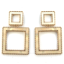 Load image into Gallery viewer, Core Square Stud Dangle hoop abalone earring