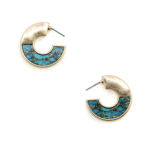 Tell Your Tale wood hoop arc earrings turquoise