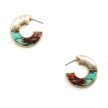 Load image into Gallery viewer, Tell Your Tale wood hoop arc earrings turquoise