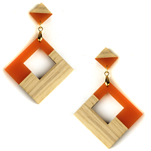 Load image into Gallery viewer, Contemporary wood earrings stud dangle