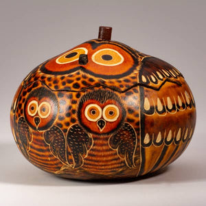 Owl Mom & Chick Carved Gourd Box - Medium