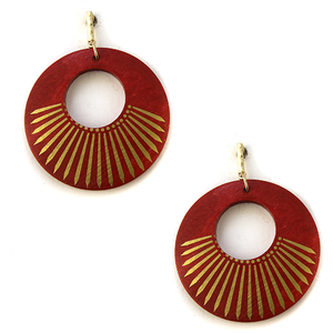 Wooden circle gold accent earrings