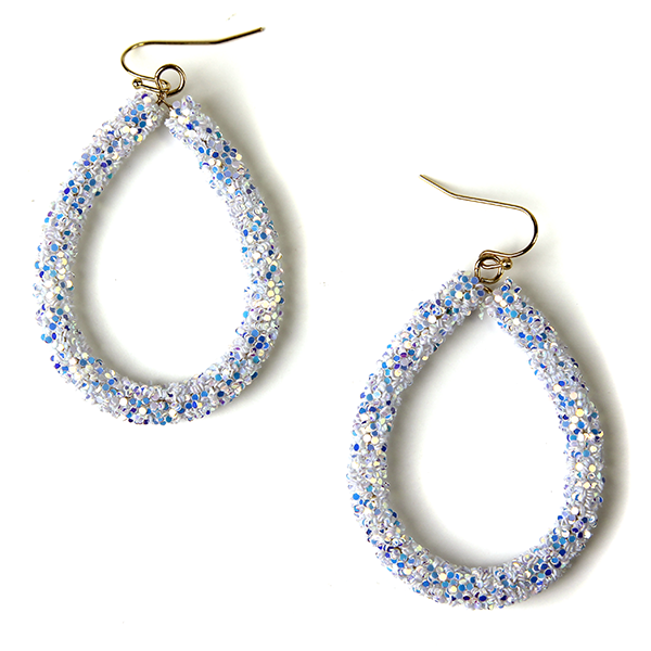 Tear drop glitter earrings