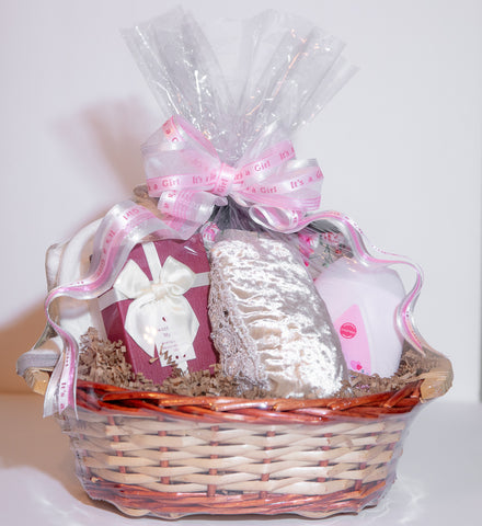Give More Gift Baskets Custom Gift Baskets for Businesses, Clients, Events, Individuals Welcome Baby Girl Baby Shower Gift Basket Give More with a custom gift basket