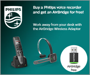 Claim a FREE Philips AirBridge with your Philips SpeechOne Headset or SpeechMike Premium Air from SpeechProducts.co.uk