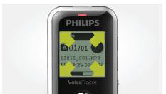 Philips DVT1250 Digital VoiceTracer Audio Recorder available from Speech Products UK with large backlit display