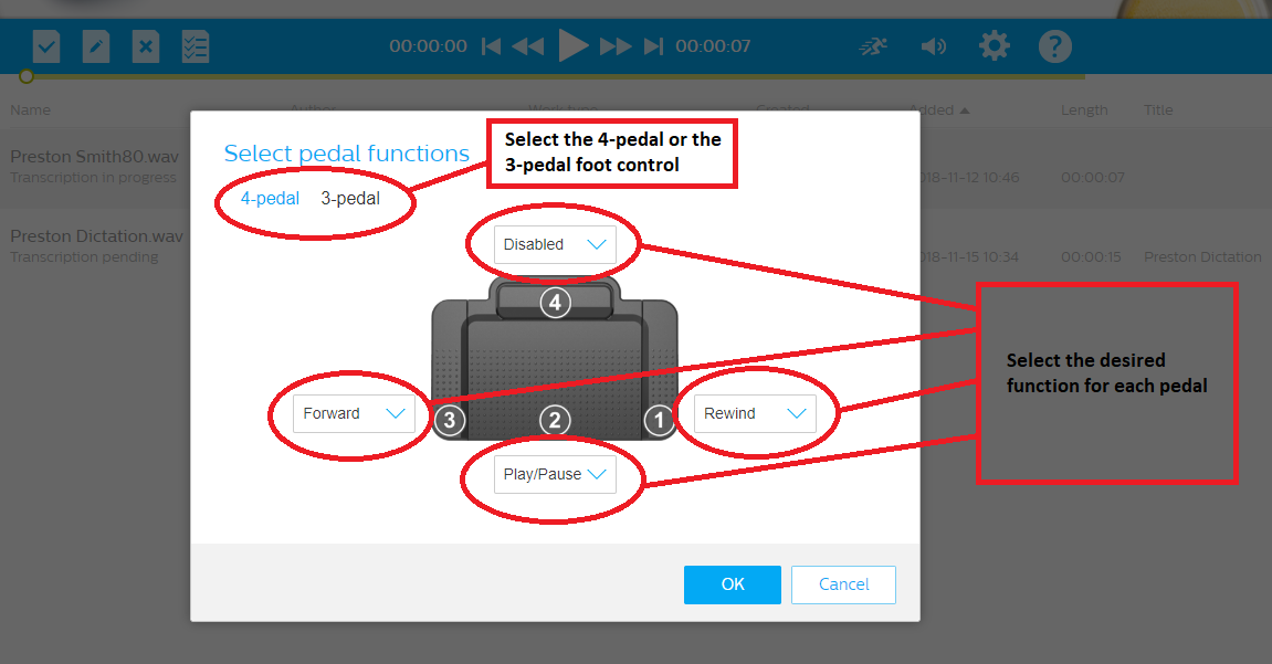 How to configure a Philips foot control in SpeechLive step 5