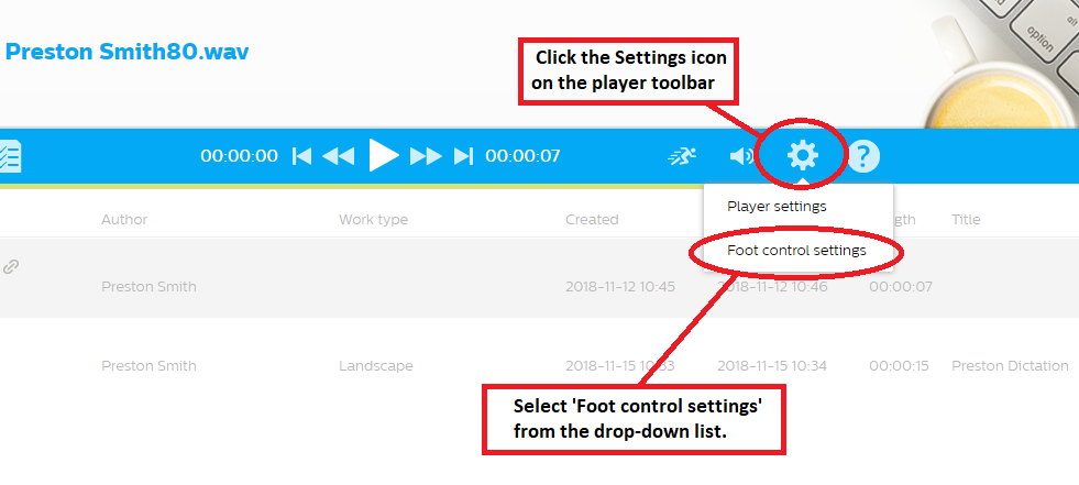 How to configure a Philips foot control in SpeechLive step 4