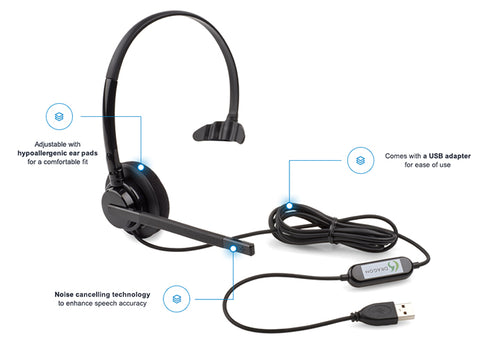 Nuance Dragon USB Headset for Speech Recognition Software - Nuance Dragon Professional Individual v15