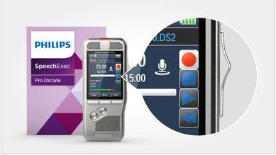 Philips PSE8000 Pocket Memo with Speech Recognition Set - DPM8000 with Integrated Dragon Speech Recognition from Speech Products UK