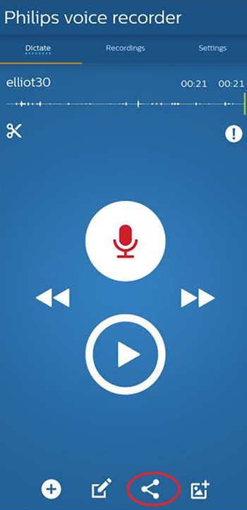 Send files from the Philips Voice Recorder App