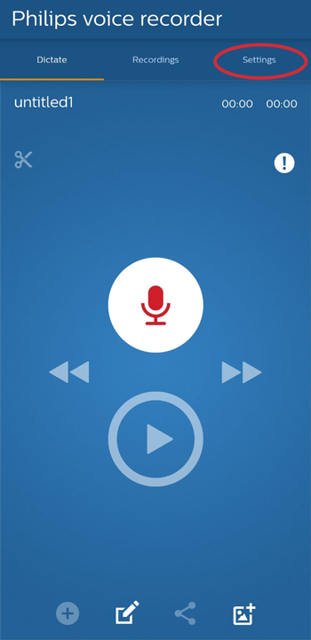 Philips Voice Recorder App Settings
