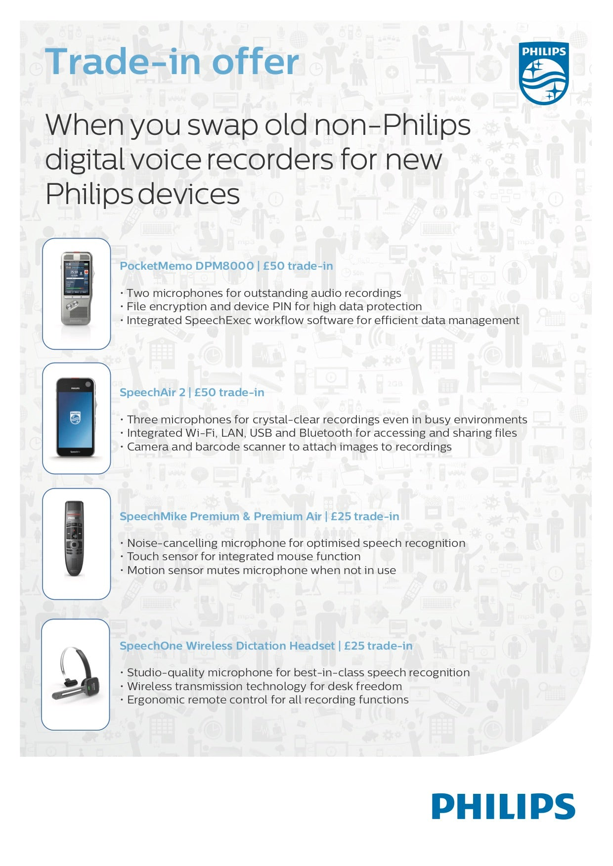 Trade-in deals available from SpeechProducts.co.uk on a select range of professional Philips devices