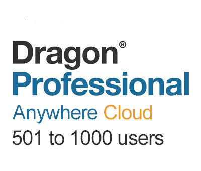 Nuance Dragon Professional Anywhere Cloud 501 to 1000 Users - Speech Products