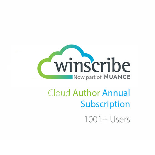 Nuance Winscribe Cloud Author Annual Subscription (1001+ Users) - Speech Products