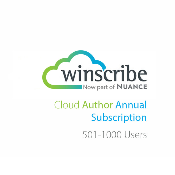 Nuance Winscribe Cloud Author Annual Subscription (501-1000 Users) - Speech Products