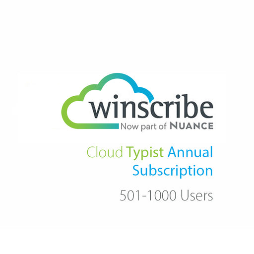 Nuance Winscribe Cloud Typist Annual Subscription (501-1000 Users) - Speech Products