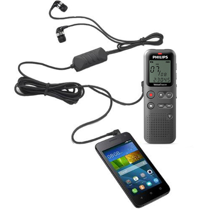 Philips DVT1110 Digital Voice Tracer with Speak-IT Smartphone & iPhone Recording Adapter - Speech Products