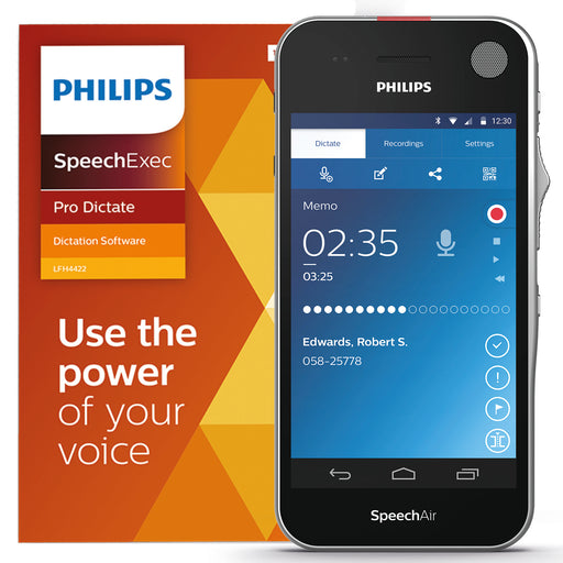Philips SpeechAir Smart Voice Recorder (PSP2200) with SpeechExec Pro Dictate V11 - Speech Products