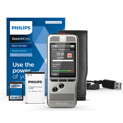 Philips DPM6000/02 Digital PocketMemo with SpeechExec Standard V11 2 Year License - Speech Products