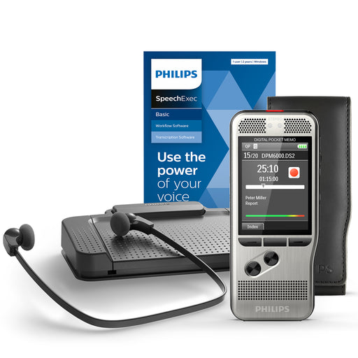 Philips DPM6700/03 PocketMemo Starter Set with SpeechExec V11 - 2 Year License - Speech Products