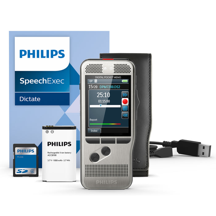 Philips DPM7200 Digital PocketMemo with SpeechExec Standard - Speech Products