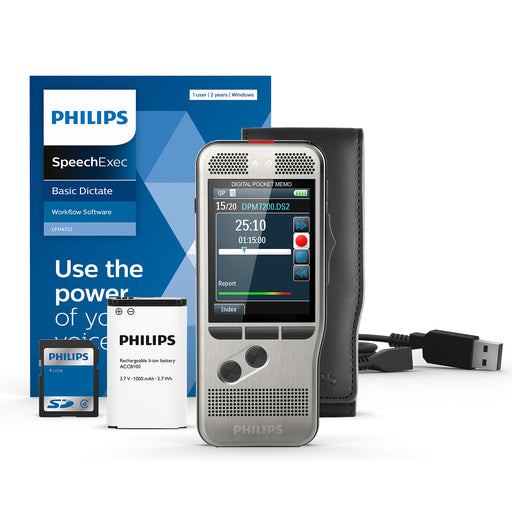 Philips DPM7200/02 Digital PocketMemo with SpeechExec Standard V11 2 Year License - Speech Products