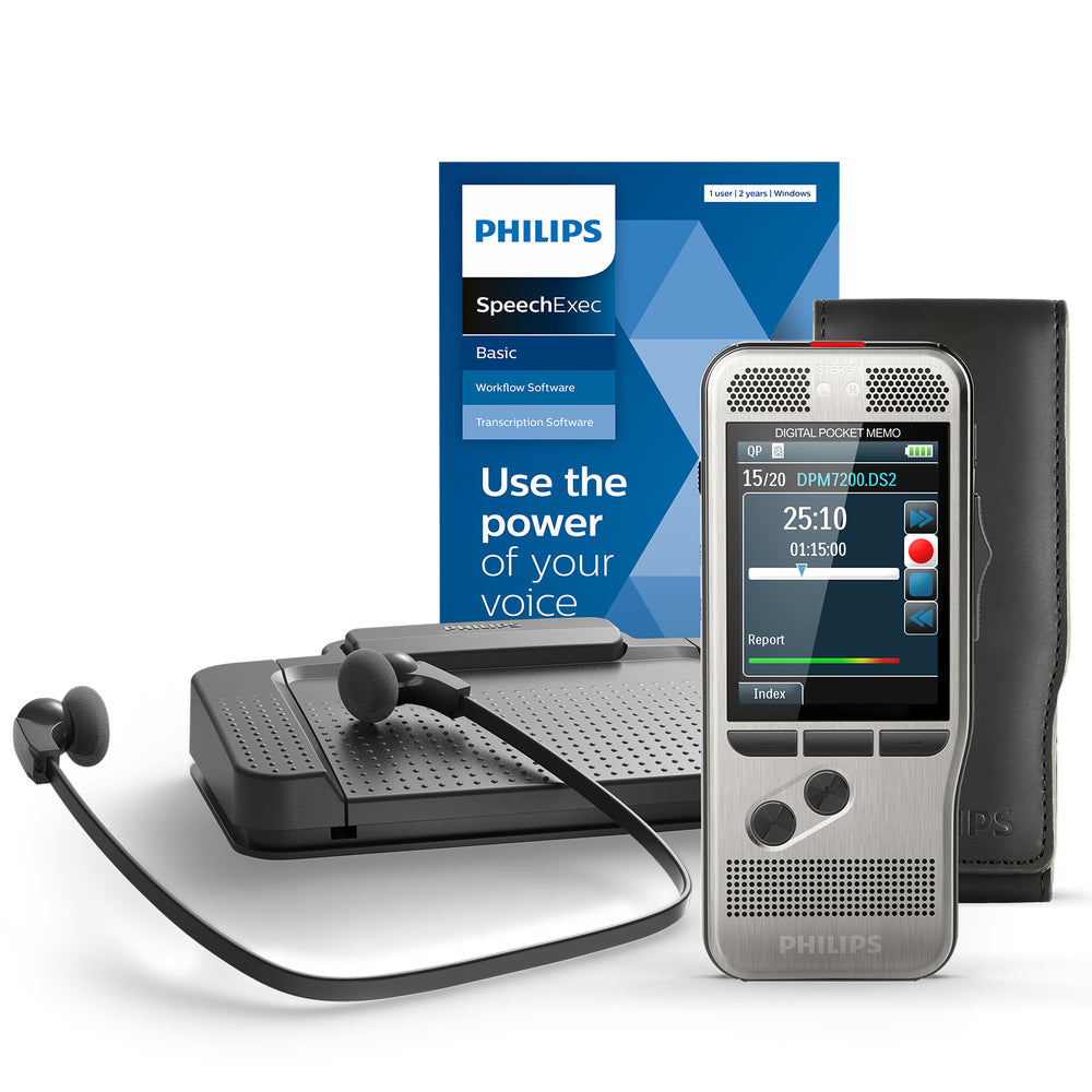 Philips DPM7700/03 Pocket Memo Starter-Set with SpeechExec V11 - 2 Year License - Speech Products