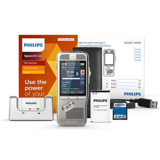 Philips DPM8200/02 Digital PocketMemo with SpeechExec Pro Dictate V11 2 Year License - Speech Products
