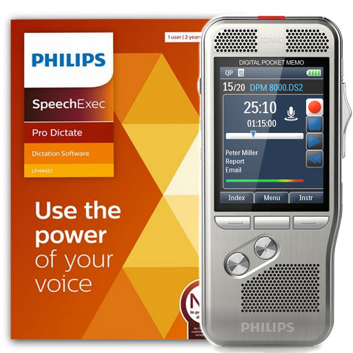 Philips DPM8000/02 Digital PocketMemo with SpeechExec Pro V11 - 2 Year License - Speech Products
