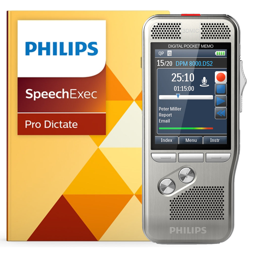 Philips DPM8000 Digital PocketMemo with SpeechExec Pro 10 - Speech Products