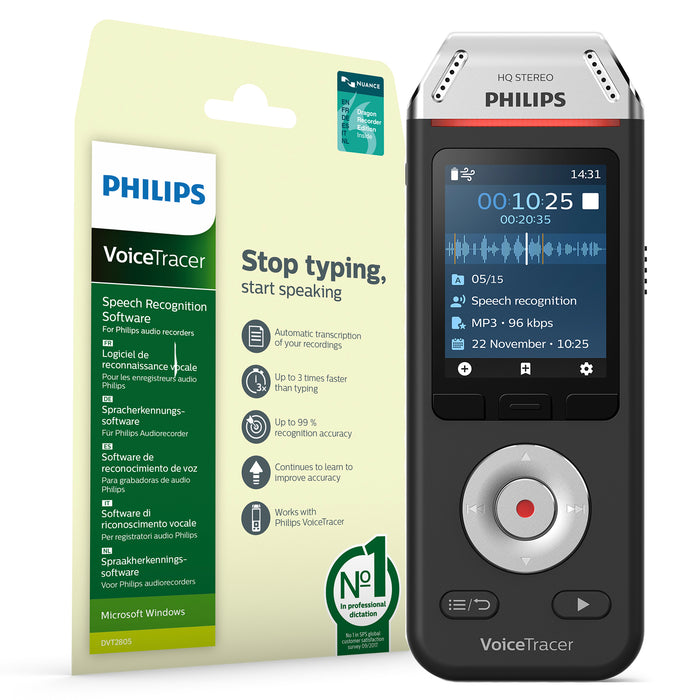 Philips DVT2810 VoiceTracer Recorder & Speech Recognition Set - Speech Products