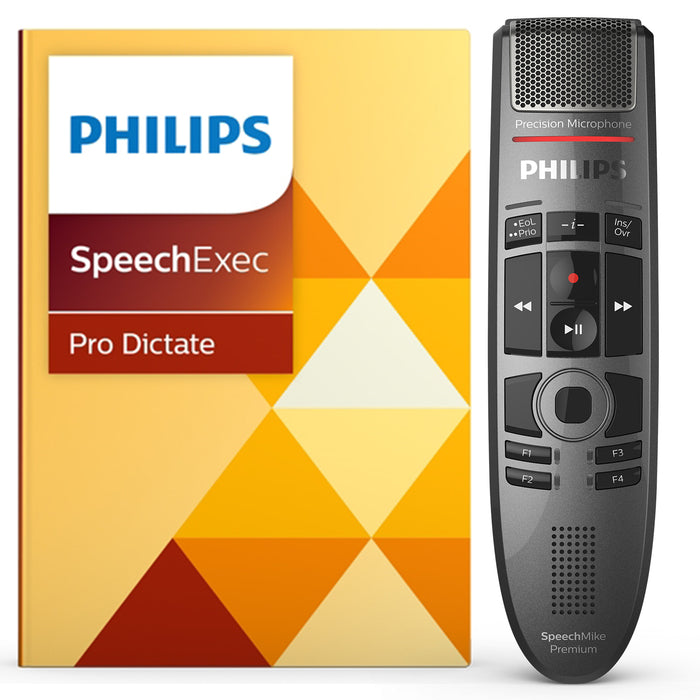 Philips SMP3700 SpeechMike Premium Touch with SpeechExec Pro Dictate v10 Software - Speech Products