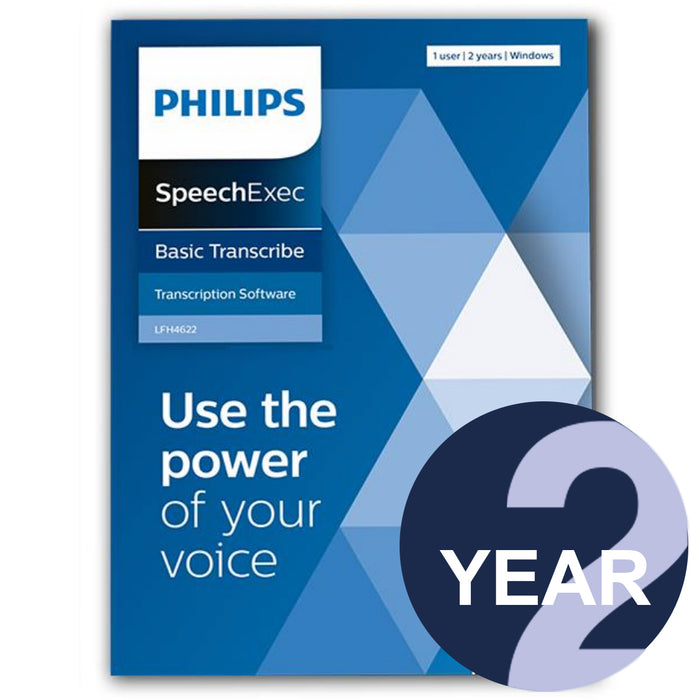 Philips LFH4622 SpeechExec Transcribe Standard V11 Software 2 Year License - Boxed Product - Speech Products
