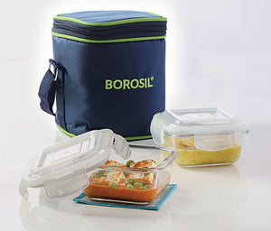 Borosil Glass Lunch Box Set of 2, 320 ml, Vertical, Microwave Safe Office Tiifin