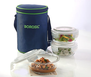 3 Container Microwavable Glass Lunch Box (Blue Bag)