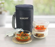 Load image into Gallery viewer, Borosil Glass Lunch Box Set of 3, 400 ml, Grey, Microwave Safe Office Tiffin