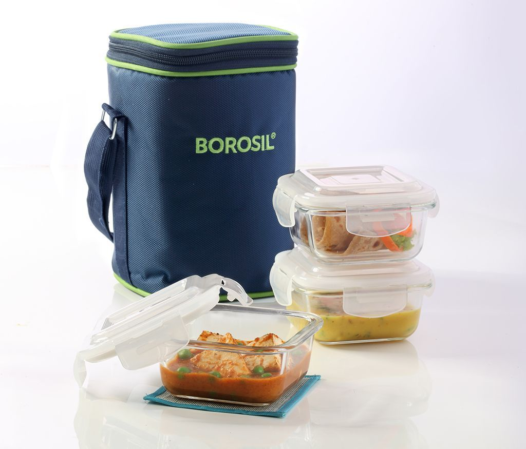 Borosil Basics Glass Lunch Box Set of 3, 320 ml, Square, Microwave Safe Office Tiffin